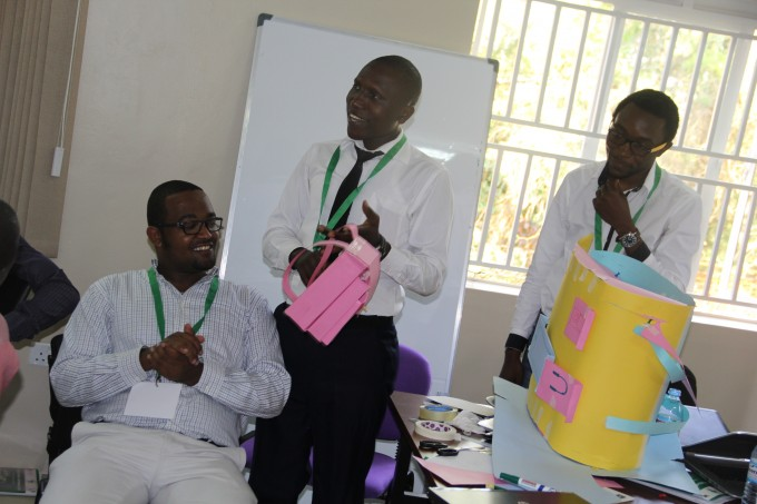 Innovators receiving feedback from the dummy end user at the Needfinding Workshop