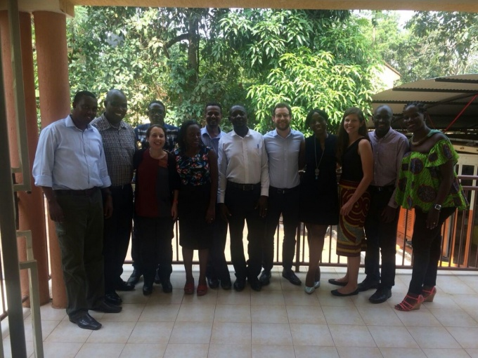From left to right: Wprkshop participants-Fision Muneza,John Nduri, Emma Livingston-Jones,Solomon Tsebani,  Doreen Tuhebwe, Ali Halage, Saul Kamukama, Dara Leyden, Elizabeth Myendo, Heather Conley, Jimmy Osuret and Harriet Adong. They posed for a group photo at the workshop venue-RAN Innovation Lab.