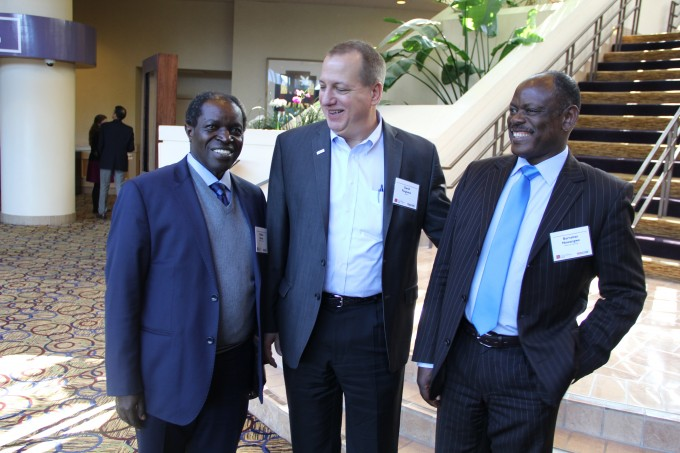 Prof. Barnabas Nawangwe, Makerere University Deputy Vice Chancellor (right), Prof. William Bazeyo, Dean Makerere University School of Public Health and RAN Chief of Party/Lab Director (left) take off a moment with David Ferguson, Director Center for Development Innovation at US Global Development Lab-USAID