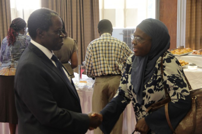 Prof. W Bazeyo with Dr. Zainabu Akol at the disemination meeting