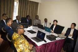 The RAN team in a preparatory meeting planning for the Panel Discussion-First Annual State of African Resilience Report in Nairobi Kenya.